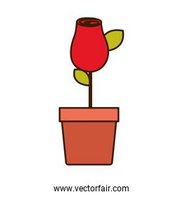 colorful drawing red rosebud with leaves and stem in flowerpot