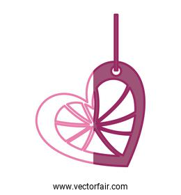 pink color silhouette love heart abstract figure hanging for decoration