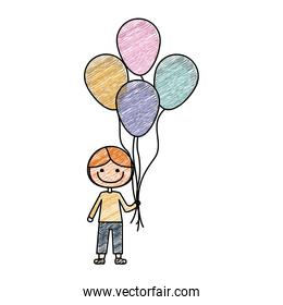 color pencil drawing of caricature of smiling kid with t-shirt and pants with many balloons