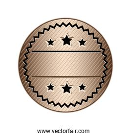 color circular stamp with starry border and decorative stars