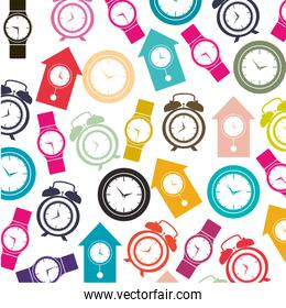 colorful pattern with clock models