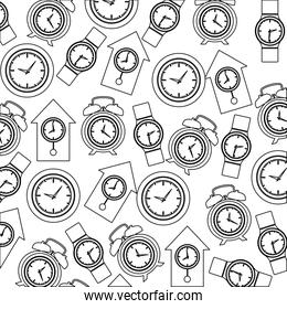 monochrome pattern with clock models