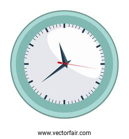 colorful silhouette with wall clock in aquamarine contour