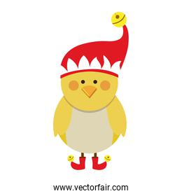 silhouette of chicken with boots and christmas hat