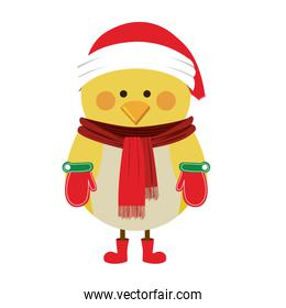 silhouette of chicken with boots scarf and gloves and christmas hat