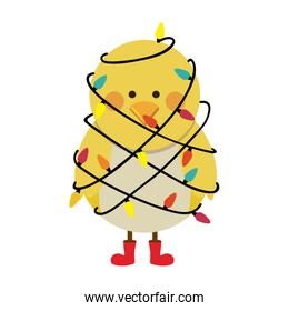 silhouette of chicken with boots and involved in cord lights christmas