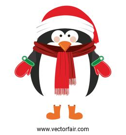 silhouette of penguin with boots scarf and gloves and christmas hat