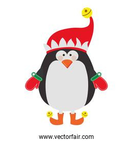 silhouette of penguin with boots and gloves and christmas hat