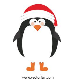silhouette of penguin with boots and christmas hat