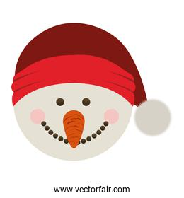 silhouette of snowman head with christmas hat