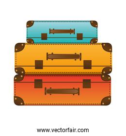 realistic silhouette with set of suitcases set in several colors
