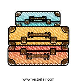 color pencil drawing silhouette with set of suitcases set in several colors