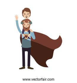 light color shading caricature full body super dad hero with boy on his back
