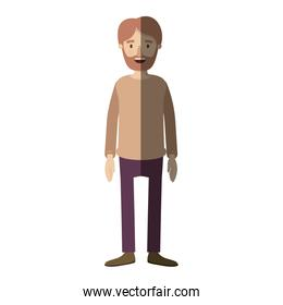 light color shading caricature full body man bearded with clothing