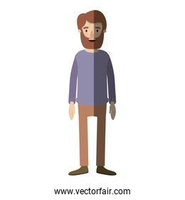 light color shading caricature full body man with beard and moustache with clothing