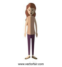 light color shading caricature full body woman with wavy long hair