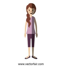 light color shading caricature full body woman with ponytail long hair