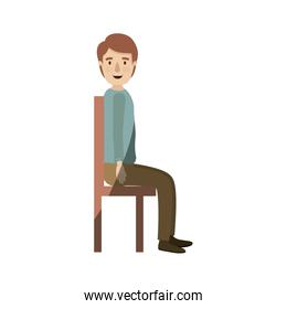 light color shading caricature full body guy sit in a chair looking to side