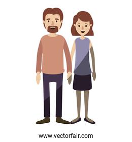 light color shading caricature full body couple woman with wavy short hair in skirt and man in casual clothing