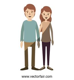 light color shading caricature full body couple in casual clothing