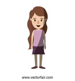 light color shading caricature full body woman with wavy long hair in skirt