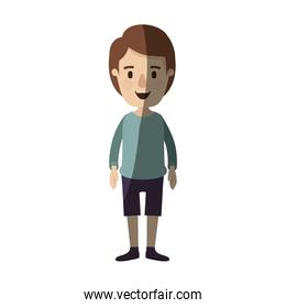 light color shading caricature full body guy with hairstyle looking to front
