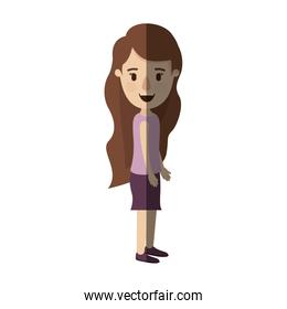 light color shading caricature full body woman with wavy long hair looking to side