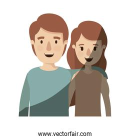 light color shading caricature half body couple woman with short wavy hair and man