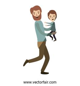 light color shading caricature full body man carrying a child