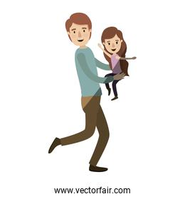 light color shading caricature full body man carrying a little girl