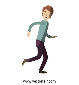 light color shading caricature full body guy with hairstyle running