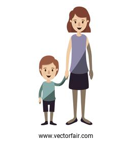 light color shading caricature full body mother taken hand with boy