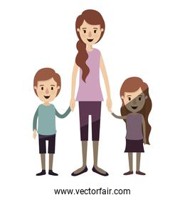 light color shading caricature full body mother taken hand with children