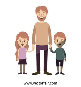 light color shading caricature full body bearded man taken hand with girl and boy