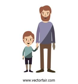 light color shading caricature full body man taken hand with little boy