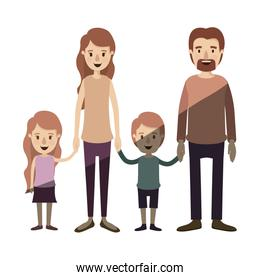 light color shading caricature family group with parents and children taken hands
