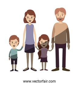 light color shading caricature family group with parents and little kids taken hands