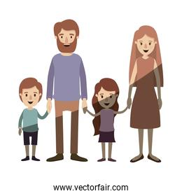 light color shading caricature family with parents and little kids taken hands