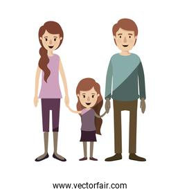 light color shading caricature family with young father and mom with side ponytail hair with little girl taken hands