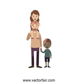 light color shading caricature bearded father with girl on his back and boy taken hands