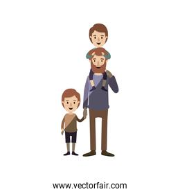 light color shading caricature bearded father with boy on his back and kid taken hands