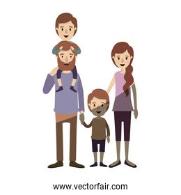 light color shading caricature family parents with boy on his back and girl taken hands
