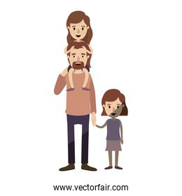 light color shading caricature dad with daugther on his back and girl taken hands