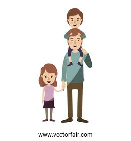 light color shading caricature dad with boy on his back and girl taken hands
