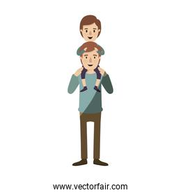 light color shading caricature young father with boy on his back