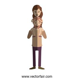 light color shading caricature bearded father with girl on his back