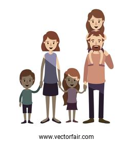 light color shading caricature big family parents with girl on his back and children taken hands