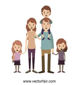 light color shading caricature big family parents with boy on his back and daugthers taken hands