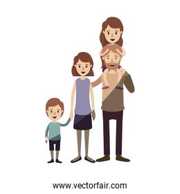 light color shading caricature big family parents with girl on his back and son taken hands