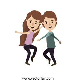 light color shading caricature full body couple dancing